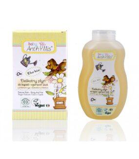 Delikatny płyn dokąpieli iszampon 2 w1, proteiny ryżu, ekstrakt zhibiskusa zupraw organicznych – Baby Anthyllis – 400 ml