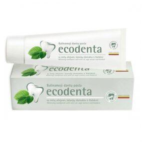 Pasta ekologiczna dozębów WYBIELAJĄCA zolejkiem miętowym, esktraktem szałwiowym ibioaktywnym wapniem – Ecodenta – 100 ml