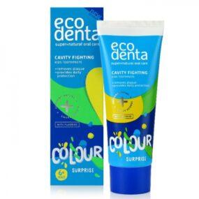 Pasta ekologiczna dla dzieci Kolorowa Niespodzianka Zwalczająca próchnicę – Ecodenta – 75 ml