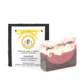 Mydło naturalne KAKAOWE ZMIODEM MALINOWYM IOLEJEM RYŻOWYM – Miodowa Mydlarnia – 95 g