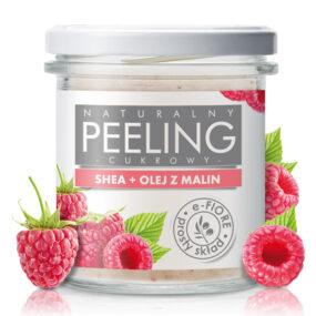 Peeling cukrowy naturalny MALINOWY zolejkiem inasionami malin – e-Fiore – 300 g