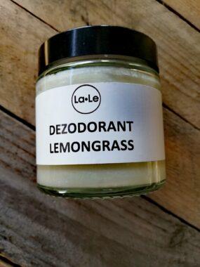 Dezodorant ekologiczny wkremie ozapachu LEMONGRASS wszkle – La-Le – 120 ml