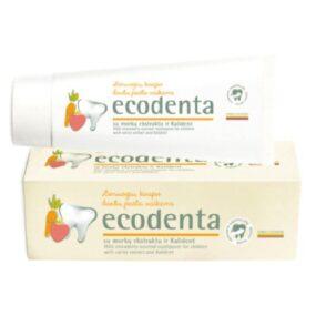 Pasta dozębów dla dzieci OSMAKU POZIOMKI zekstraktem zmarchwi ibioaktywnym wapniem – Ecodenta – 75 ml