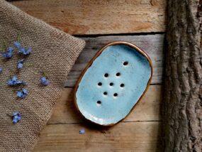 Mydelniczka ceramiczna, ręcznie wykonana BŁĘKITNY PIASEK