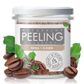 Peeling cukrowy naturalny KAWOWY zmasłem shea iolejkami – e-Fiore – 300 g