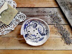 Mydelniczka ceramiczna, ręcznie wykonana POLNE ROŚLINY