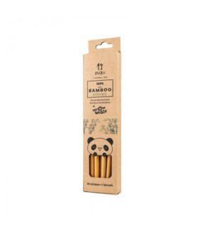 Bambusowe słomki dopicia 10 szt. + czyścik, wielorazowe, ZERO WASTE – Zuzii