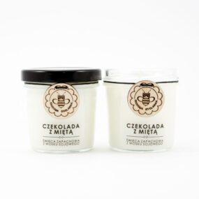 Świeca sojowa – CZEKOLADA ZMIĘTĄ – Miodowa Mydlarnia – 120 ml