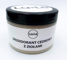 Dezodorant ekologiczny wkremie zolejkiem cedrowym zziołami – La-Le -150 ml