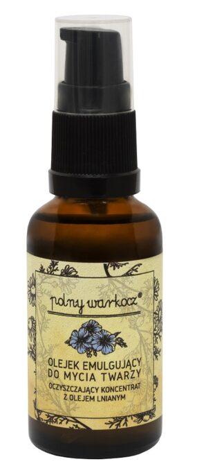 Oczyszczający Koncentrat zOlejem Lnianym – Olejek Emulgujący doMycia Twarzy – Polny Warkocz – 30 ml