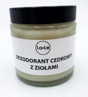 Dezodorant ekologiczny wkremie zolejkiem cedrowym zziołami wszkle – La-Le -120 ml