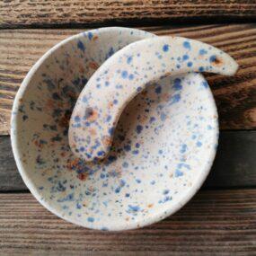 Miseczka ceramiczna zeszpatułką domaseczek sypkich lub nabiżuterię BEŻOWA