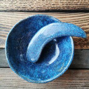 Miseczka ceramiczna zeszpatułką domaseczek sypkich lub nabiżuterię NIEBIESKA
